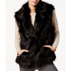 NWT black INC faux fur vest M/L